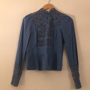 Anthropologie Blue Embroidered Blouse